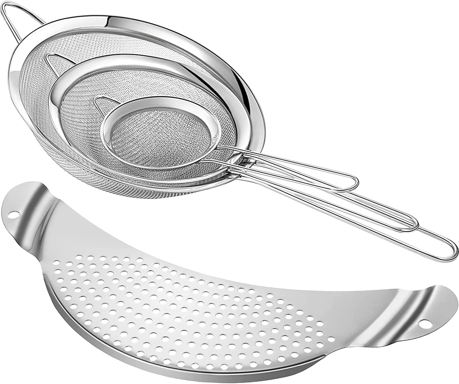 4 Pieces Stainless Steel Mesh Strainers Sets, 3 Fine Mesh Strainers Wire Strainers and 1 Pan Pot Strainer Colander Sifter for Vegetables Fruit Pasta Drain and Rinse (3.15 Inch, 4.72 Inch, 7.87 Inch)