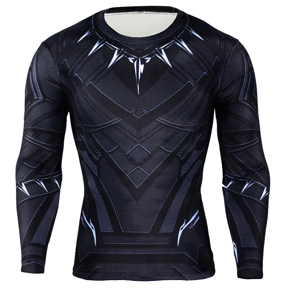 Cimno Unisex Cosplay Costume T Shirt Black 3D Print Long Sleeve Elastic Sport Tops HB-L-1