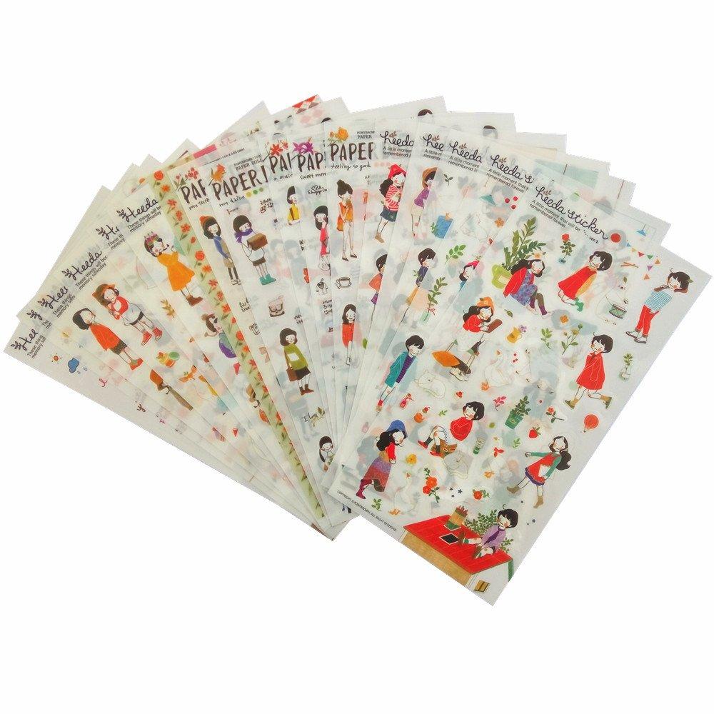 18 Sheet/lot Cute Girl PVC Transparent Stickers Kawaii Stationery Planner Diary Scrapbooking Handmade DIY Craft Decor Decorative Label Qietingfengyin