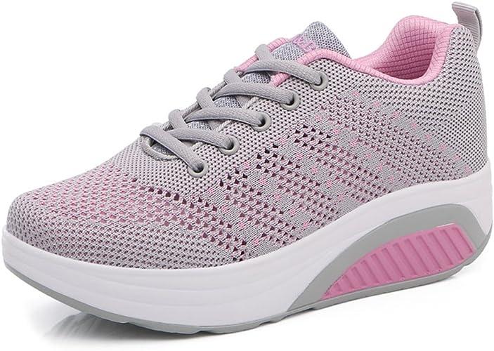 Solshine Damen Farben Block Plateau Schnürer Sneakers Walkmaxx Schuhe Shape ups Fitnessschuhe