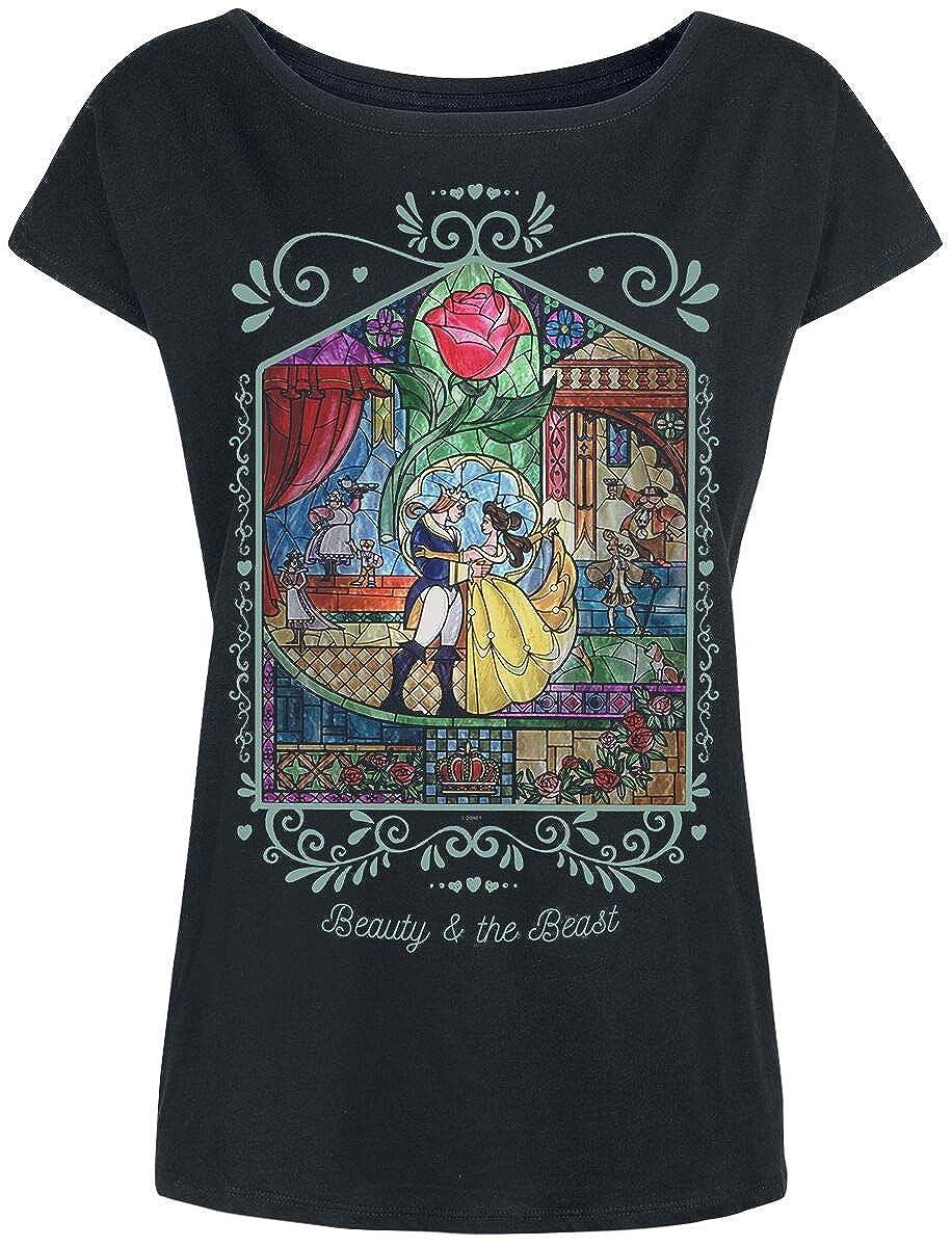 TALLA S. La Bella y La Bestia Rose Camiseta Negro