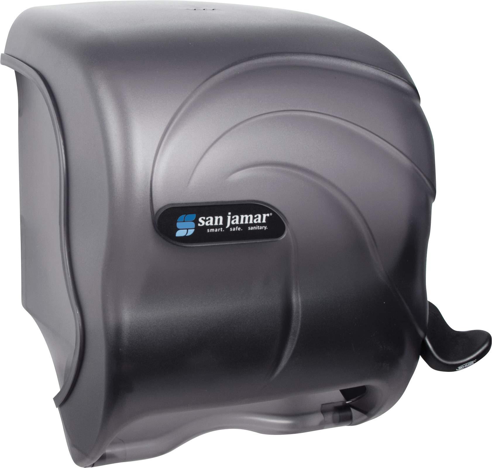 San Jamar T990TBK Element Lever Roll Towel Dispenser, Fits 8w, 8 Inch Diameter Paper Rolls, Oceans, Black, 12 1/2w x 8 1/2d x 12 3/4h by San Jamar