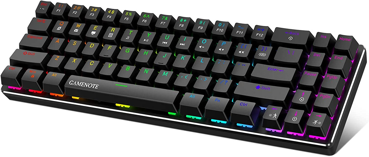 Gamenote 60% Mechanical Keyboard, Wired Gaming Keyboard Type-C 71 Keys LED Backlit Mini Compact Keyboards Blue Switch for PC Gamer Laptop Computer