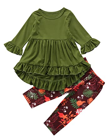 67732089f8283 Pudcoco Toddler Little Girls Hi Lo Ruffle Flare Tunic Dress Top Floral  Leggings Pants Outfit Set