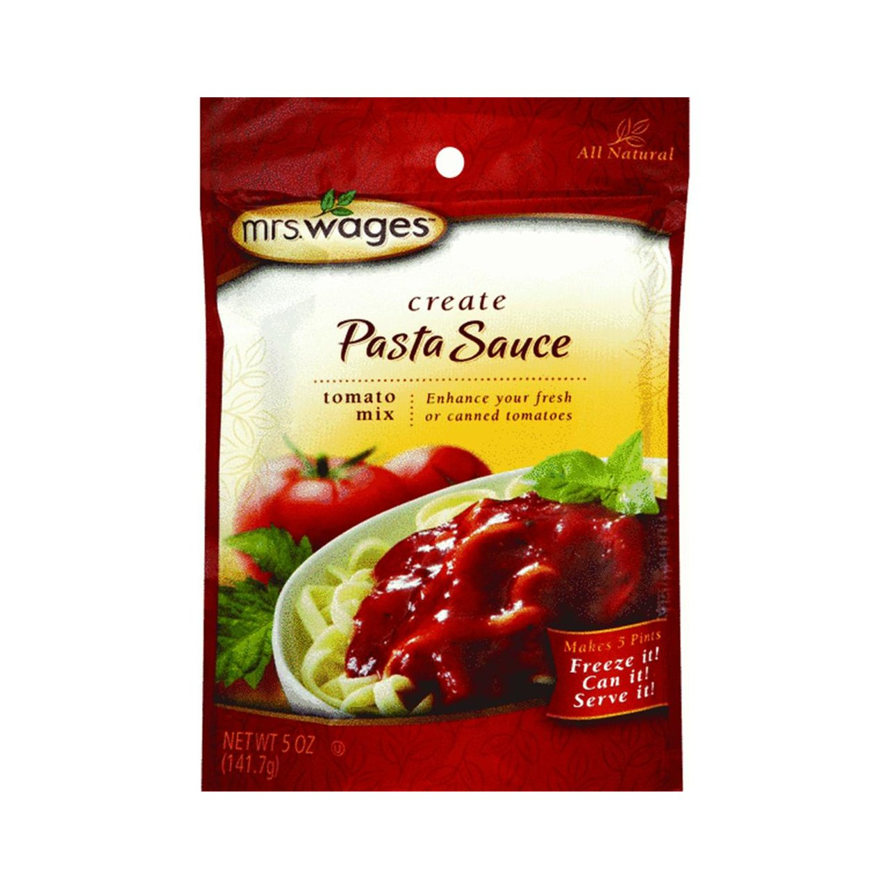 Mrs. Wages ALL NATURAL Pasta Sauce Tomato Canning Mix (5 Ounce Package)