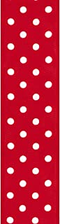 product image for Offray, Red Wired Edge Polka Dot Craft Ribbon, 1 1/2-Inch x 9-Feet
