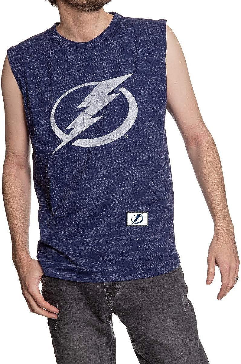 Calhoun NHL Men's Team Logo Crew Neck Space Dyed Cotton Sleeveless T-Shirt