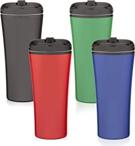 Set of 4 color coffee cup Insulated Travel Car Mug | Spill LEAK Proof | Reusable coffee cups with lids | Insulated Coffee & Tea mug Keeps Hot or Cold | 16 oz | great for travel Liquor Sip.