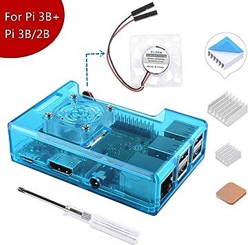 MakerFun Case para Raspberry Pi 3 Modelo B + (B Plus), con Ventilador de refrigeración y 3PCS disipadores térmicos ...