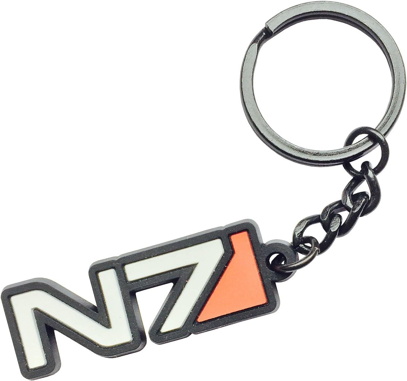 Amazon Com Mass Effect N7 Black Rubber Keychain Kitchen Dining