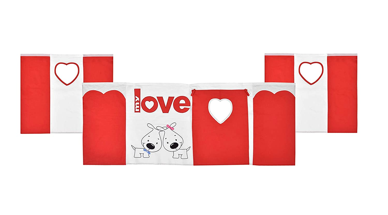 XXL Discount Vorhänge für Kinderbett, Spielvorhang Hochbett, 3-teilig, 100% Baumwolle Stoffvorhang Bettvorhang Stoff-Set für Spielbett Motiv  Meine Liebe, Farbe  Rot Weiß