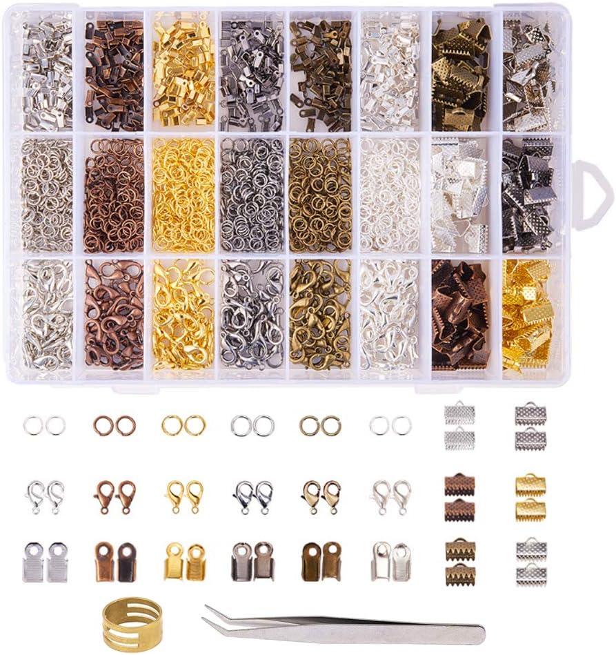 KINDPMA 2500 Pezzi Kit di Creazione Collane 6 Colori Kit Riparazione Gioielli Utilizzato per Creare e Riparare Gioielli Collane Bracciali