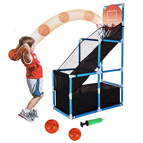 Tuko Kids Basketball Hoop Arcade Game Toy - Toddler Toys Outdoor/Indoor Basketball Hoop Shooting Training System with Basketball for Boy Gift