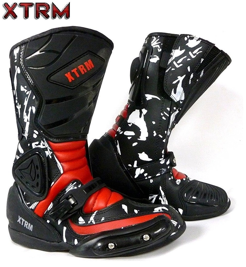 XTRM MOTORBIKE BOOTS ADVENTURE KIDS BOOTS Motorcycle On-Road Casual Racing Touring Quad ATV Sports Junior Biker Long Ankle Armor Leather Boots
