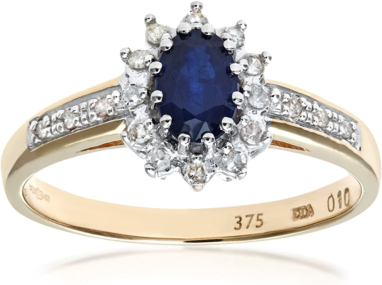 Naava Anillo de Mujer con Oro de 9 quilates (375) con Zafiro y Diamantes