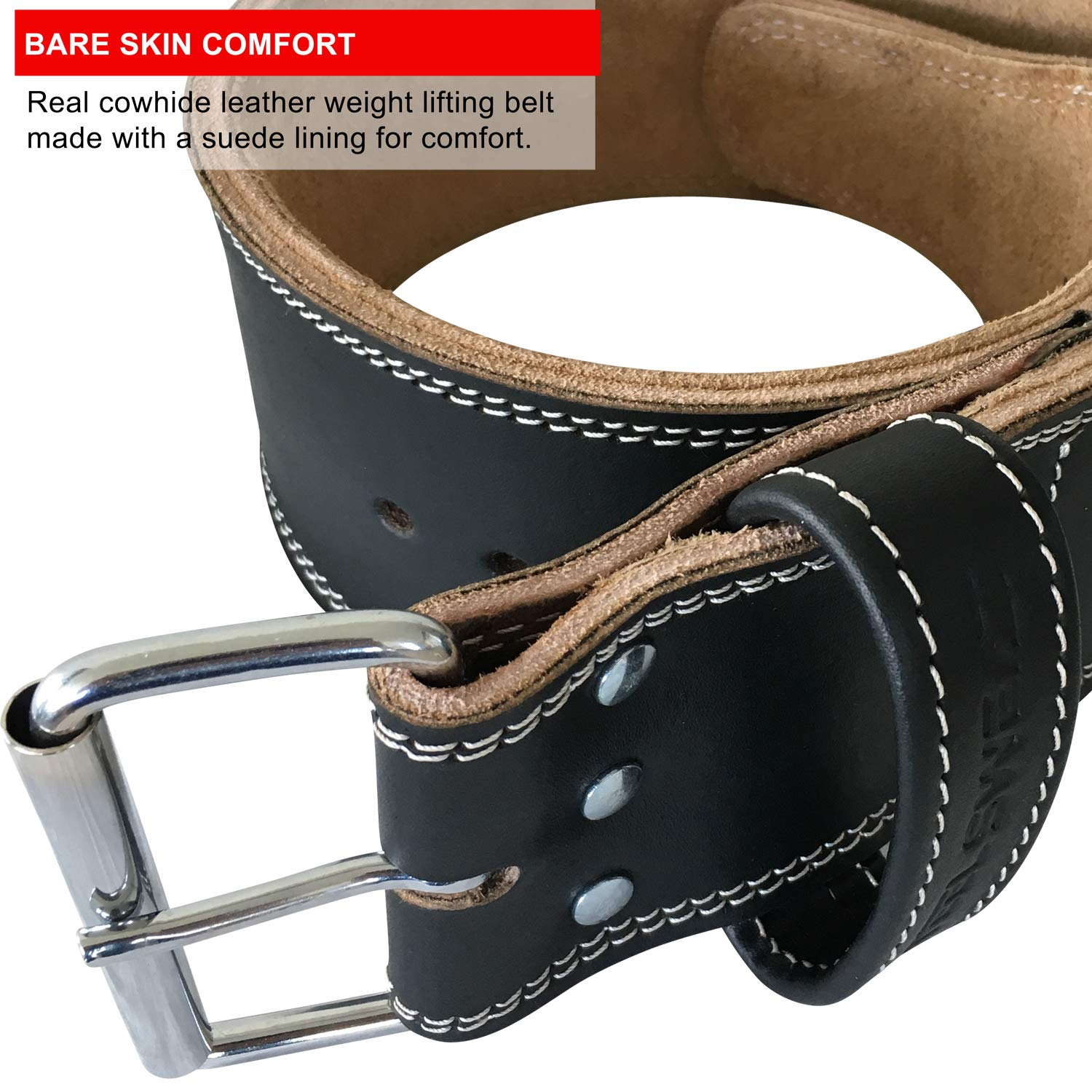 Steel Sweat Weight Lifting Belt - 4 Inches Wide by 10mm - Single Prong Powerlifting Belt That's Heavy Duty - Genuine Cowhide Leather - Medium Texus by Steel Sweat (Image #8)