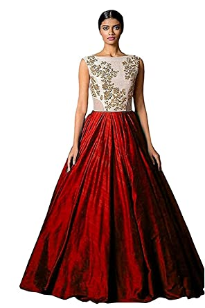 Riyan Enterprise Women\'s Latest Designer Party Wear Red Color Gown ...