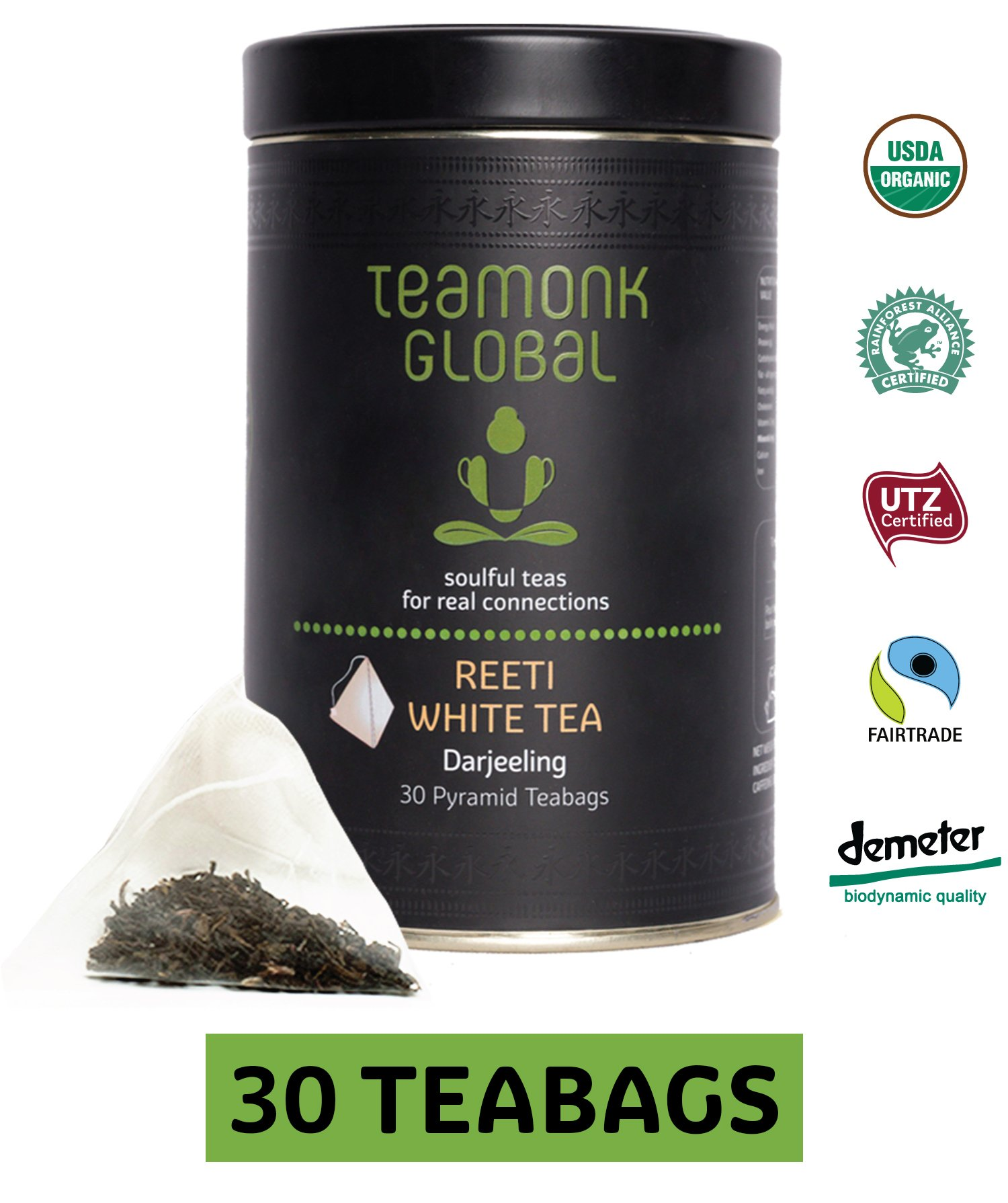 Teamonk Darjeeling Organic White Tea, 30 Teabags | 100% Natural Whole Leaf Pyramid Teabags from Himalayas | Reeti White Tea for Glow and Immunity | Low-Caffeine & Anti-Oxidants | No Additives