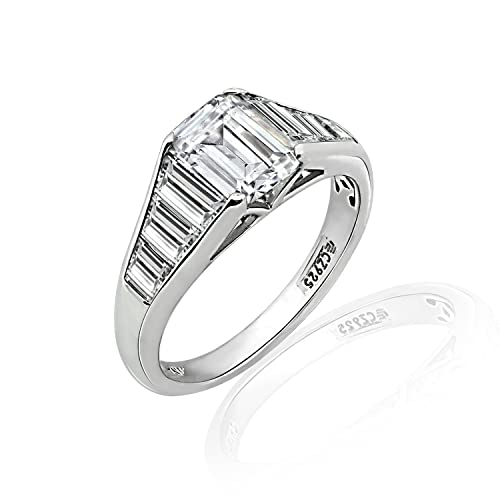Diamonbliss Sterling Silver Cubic Zirconia Emerald Cut Tapered Baguette Ring