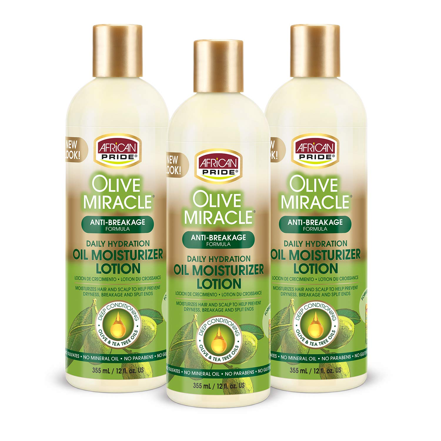 African Pride Olive Miracle Hair Moisturizing Lotion (3 Pack) enriched with olive and tea tree oil to prevent damage and seal in moisture,12oz