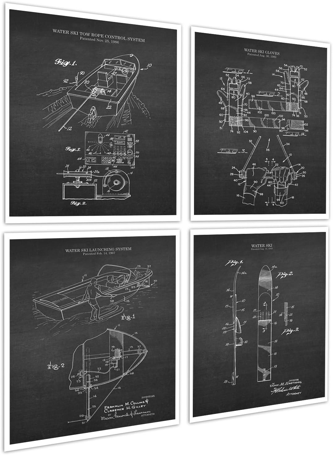 Lake House Decor Set of 4 Unframed Art Prints Water Skiing Patents WaterSki_Chk4A
