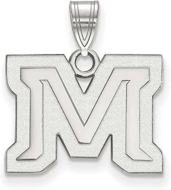 925 Sterling Silver Rhodium-plated Laser-cut The University of Wyoming Medium Pendant