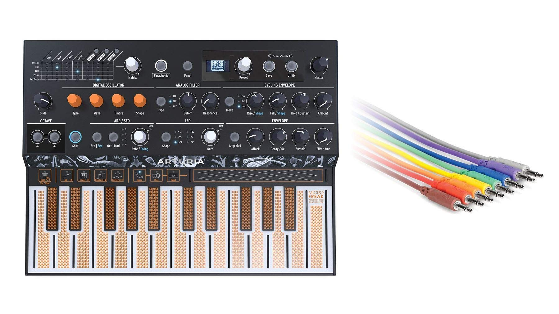 Arturia MicroFreak Synthesizer Bundle with Hosa CMM-845 CV Patch Cables (2 Items) by Arturia