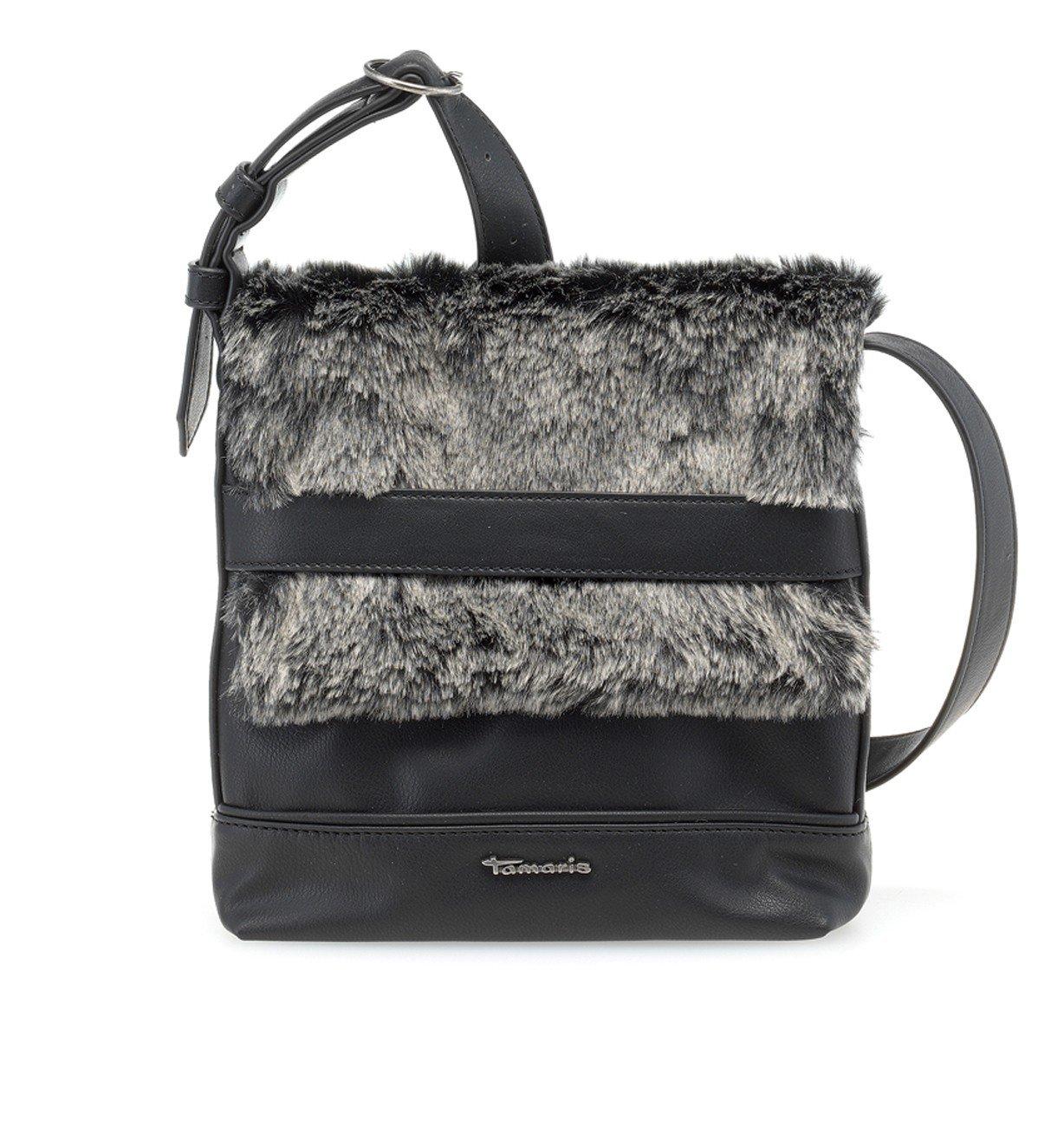 ANDIE Damen Handtasche, Crossbody Bag, Umhängetasche, 25x24x2 cm (B x H x T), Fellimitat, 3 Farben: braun comb, taupe comb. oder schwarz comb, Farbe:schwarz comb Tamaris