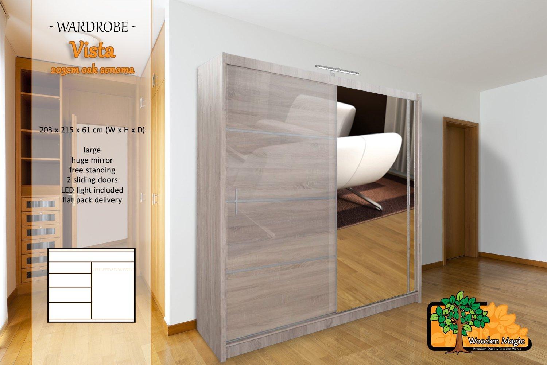 Vista Oak 203cm Sturdy Free Standing Wooden Sliding Door Wardrobe