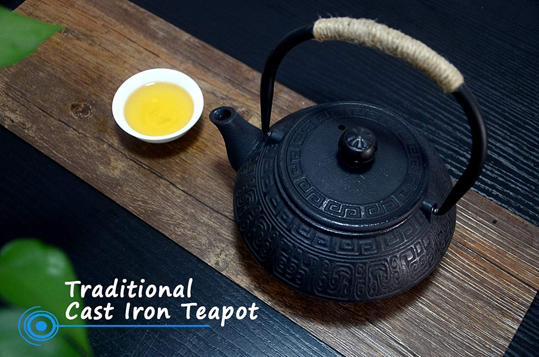tendr/á capacidad electrica de alta te tetera de hierro chino tetera con infusor antigua de color negro y 800 ml Hwagui