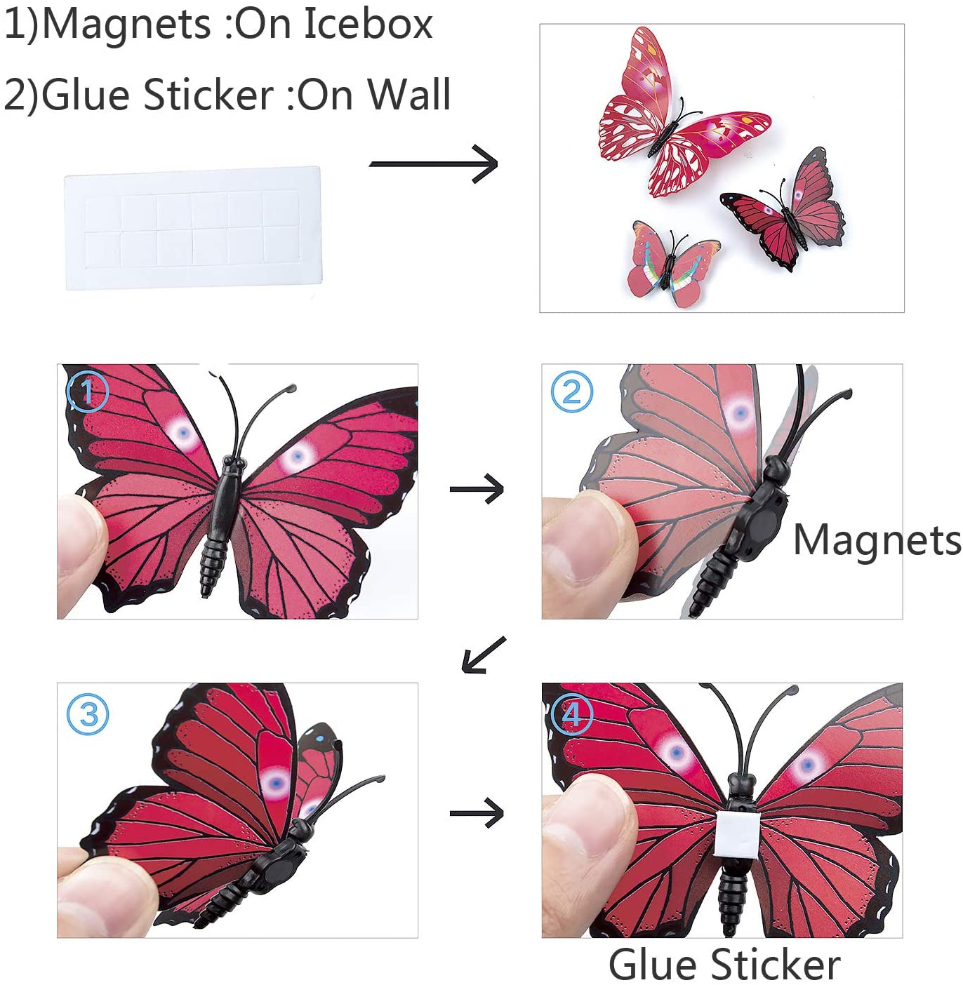 """NEW VIBRANT  MULTI-COLOR BUTTERFLY MAGNETIC SIGN DECAL 8 1//4/"""" X 6/"""""""