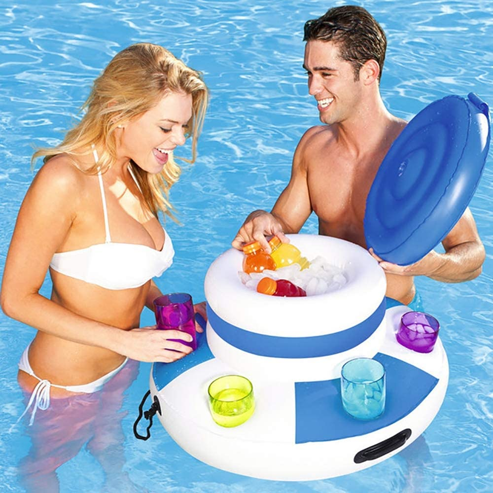 LOY Tenedor Inflable del refrigerador del Cubo de Hielo con 6 portavasos para la Piscina, Copas de la Bebida de la Cerveza de la Barra Flotante para la Fiesta en la Piscina de la Playa del Verano