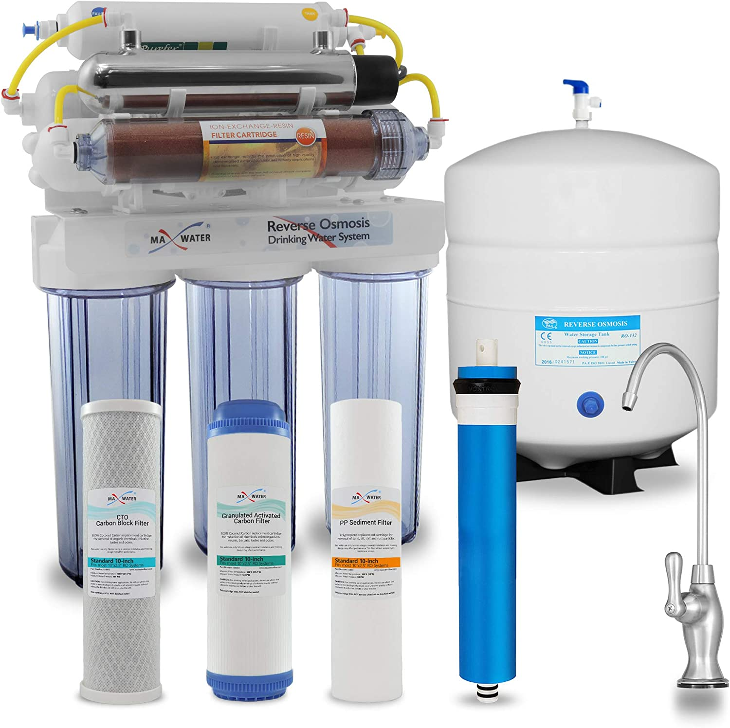 Max Water 12 Stage Home Reverse Osmosis System/Reverse Osmosis Water Filtration System/RO System Under Sink RO Water Purifier 50 GPD RODI System, UV Filter PH 5-1 Alkaline Water Filter CP D Faucet