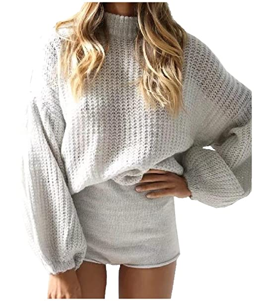 d5382744177 Freely Womens Turtleneck Tunic Bishop Sleeve Sweaters Knitted Tops Coat AS1  OS