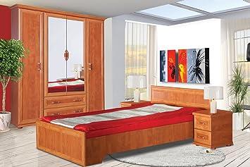 Schlafzimmer Komplett - Set B Louga, 4-teilig, Farbe: Rotbraun ...