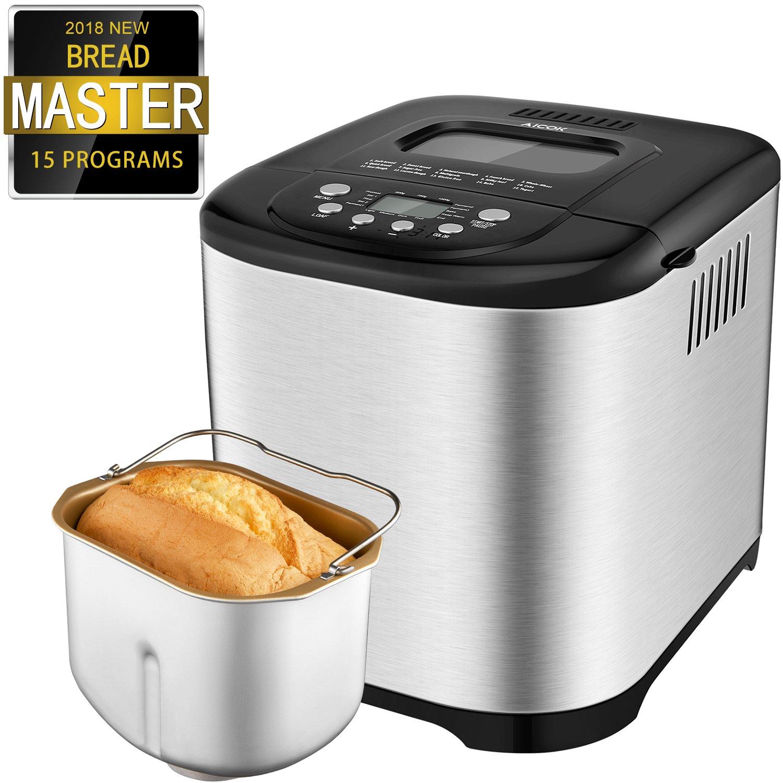 Aicok Macchina per il pane, cestino in acciaio inossidabile con capacità di 500g-1kg e 15 diverse impostazioni programmabili, Display LCD, timer con ritardo di 15 ore timer con ritardo di 15 ore