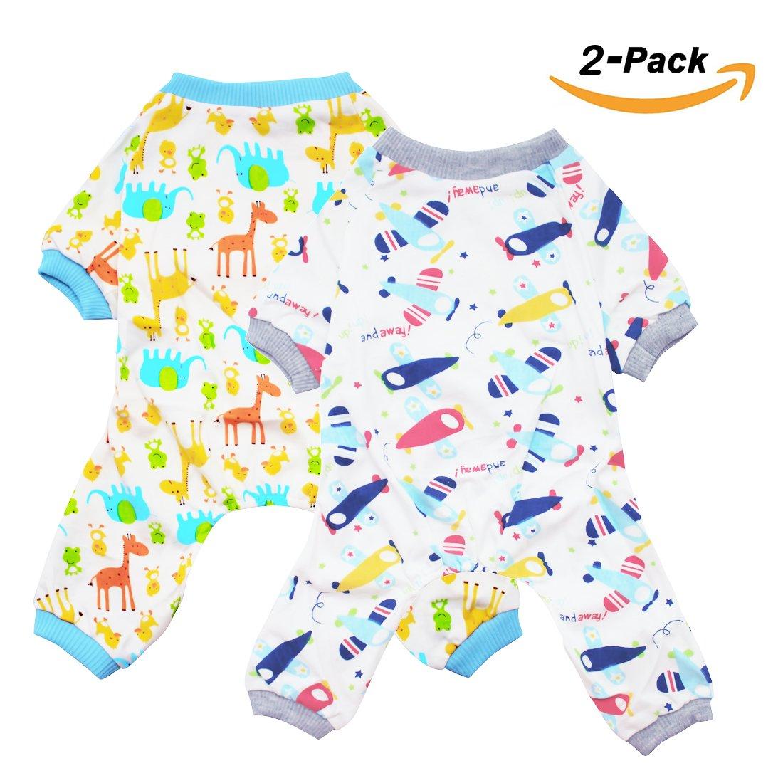 Scheppend Pyjamas de chien de chien Combinaisons confortables Maillots de bain pour b¨¦b¨¦ pour petit moyen 2 paquets