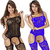 1947f047890 LOVELYBOBO 2 Pack Womens Plus Size Fishnet Bodystockings Striped Lingerie  Crotchless Bodysuits Tights Suspenders
