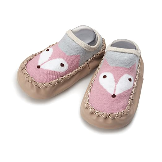 Haley Clothes Cute Boy Girls Baby Moccasins Non-Skid Toddler Shoes Baby Slippers (Pink