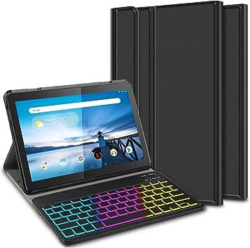 ELTD Funda con Teclado Español Ñ para Lenovo Tab M10, Teclado inalámbrico 7 Colores Cubierta de Teclado retroiluminada de Tres particiones, (Negro)