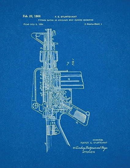 Amazon colt ar 15 semi automatic rifle patent print art poster colt ar 15 semi automatic rifle patent print art poster blueprint 16quot malvernweather Image collections