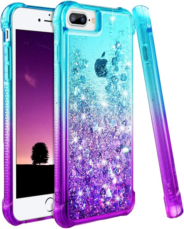 Ruky iPhone 6 Plus 6s Plus 7 Plus 8 Plus Case, Gradient Quicksand Series Glitter Bling Liquid Floating Flexible TPU Women Girls Cover Phone Case for iPhone 6 Plus 6s Plus 7 Plus 8 Plus (Aqua Purple)
