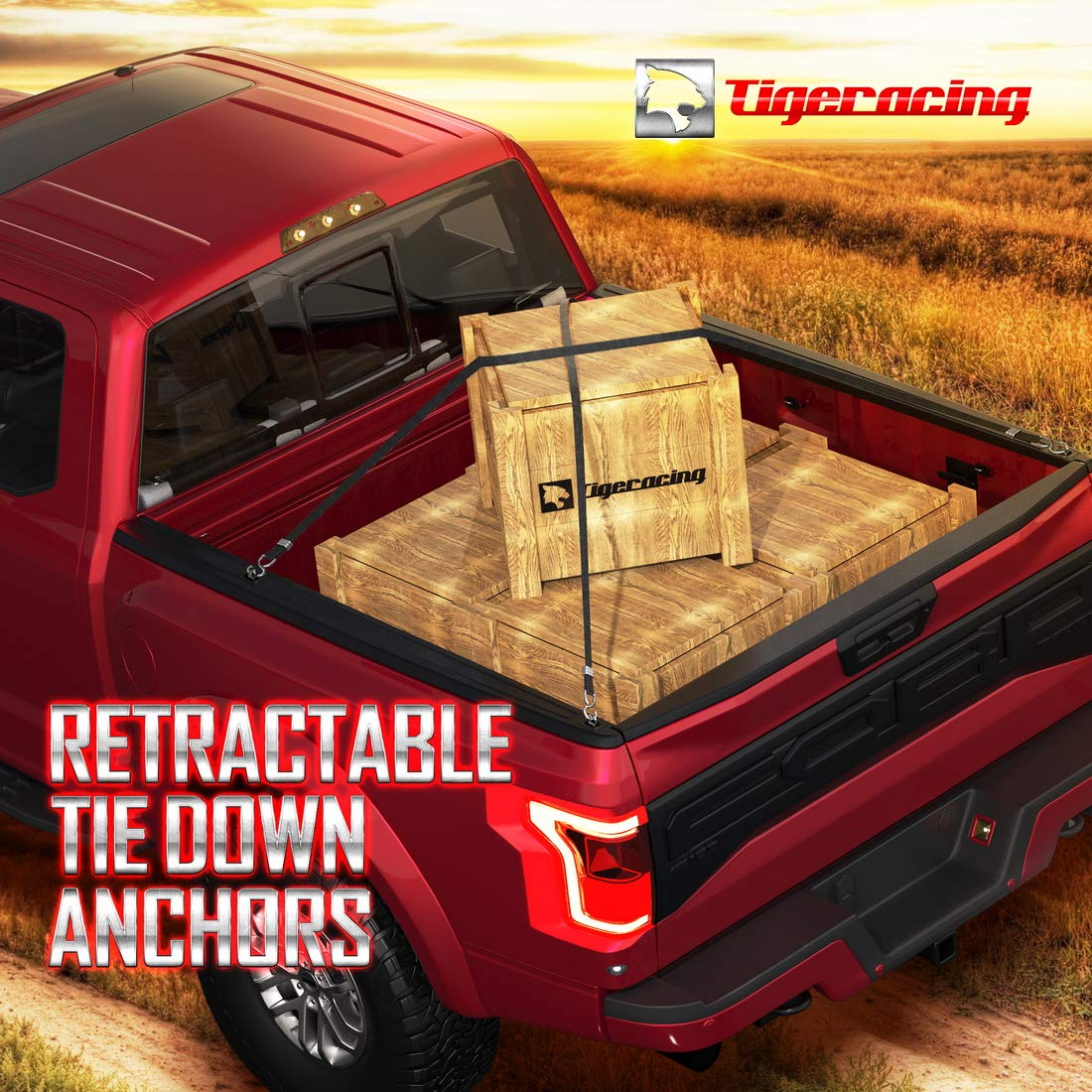 1998-2016 Super Duty with Mis-Aligned Rail Cap All Metal 3000 LBS Capacity Tigeracing Tie Down Anchors Retractable Truck Bed D Ring Compatible 1998-2014 F150 of 4