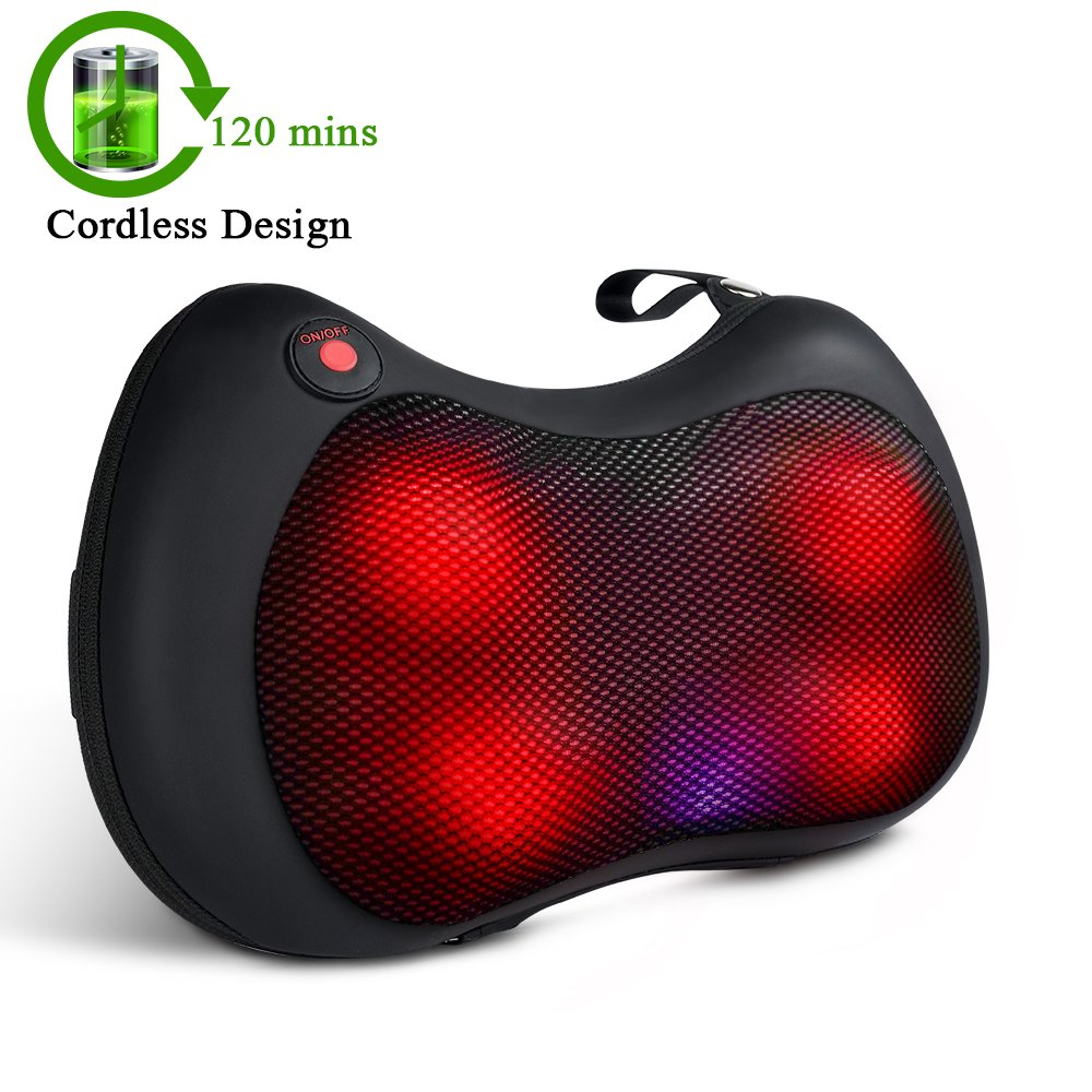 TENKER Cordless Shiatsu Neck Shoulder Back Massager with Heat – Rechargeable Use Unplugged Pillow for Shoulders, Lower Back, Calf, Legs, Foot – Use at Home, Office, and Car