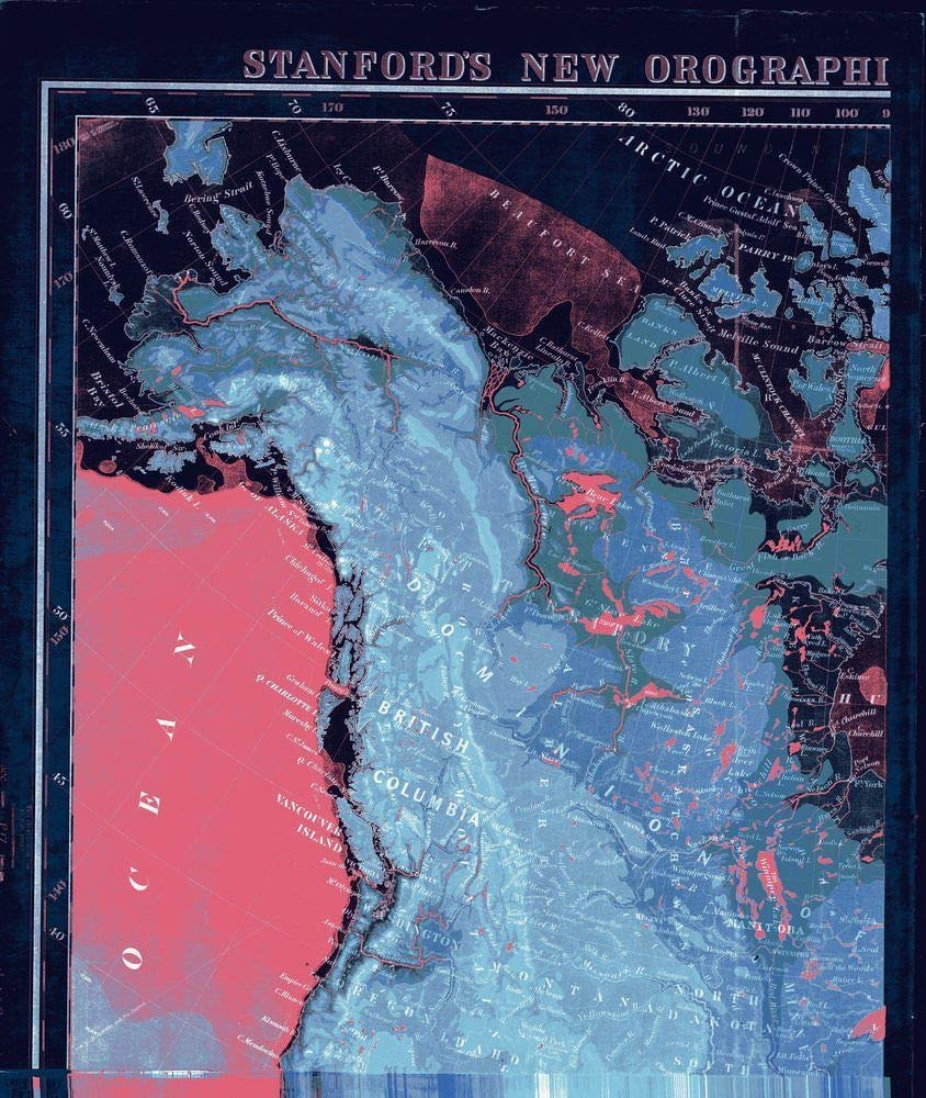 NOAA Blueprint Style 18 x 24 Nautical Chart Stanford's New Orographical Map of North America Stanford 83a
