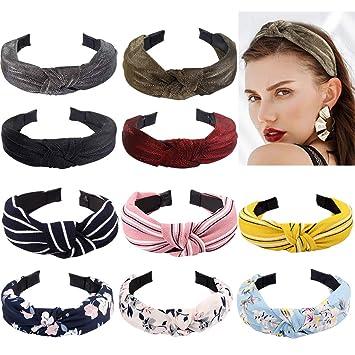 FASOTY 10 Pieces Wide Headbands for Women Boho Headband Knot Headband Turban Headband...