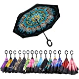 AWEOODS Inverted Umbrella Windproof Reverse Folding Double Layer Travel Umbrella with C Shape Handle, Peacock Ling