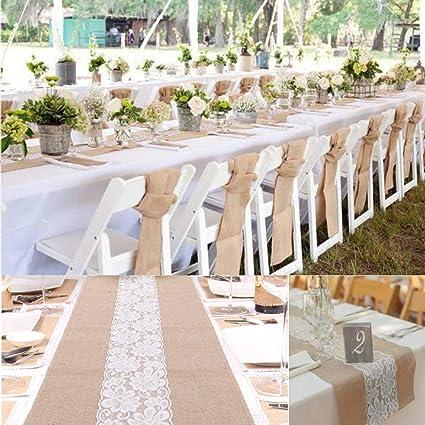 Yute Natural Burlap yute de arpillera decoración para boda fiesta de encaje camino de mesa 12 x 79 cm: Amazon.es: Hogar