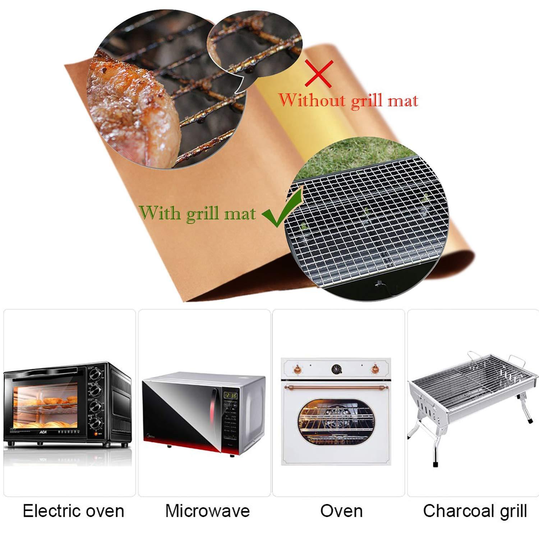 Dango 6 x Grill- und Backmatten Grillzange wiederverwendbar Holzkohle- Ofen- und Elektrogrills Silikonb/ürste zum Backen auf Gas- antihaftbeschichtet und leicht zu reinigen