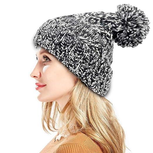 1ef1a800432 FADA Women Knit Slouchy Beanie Chunky Baggy Hat with Pompom Winter Soft  Warm Ski Cap